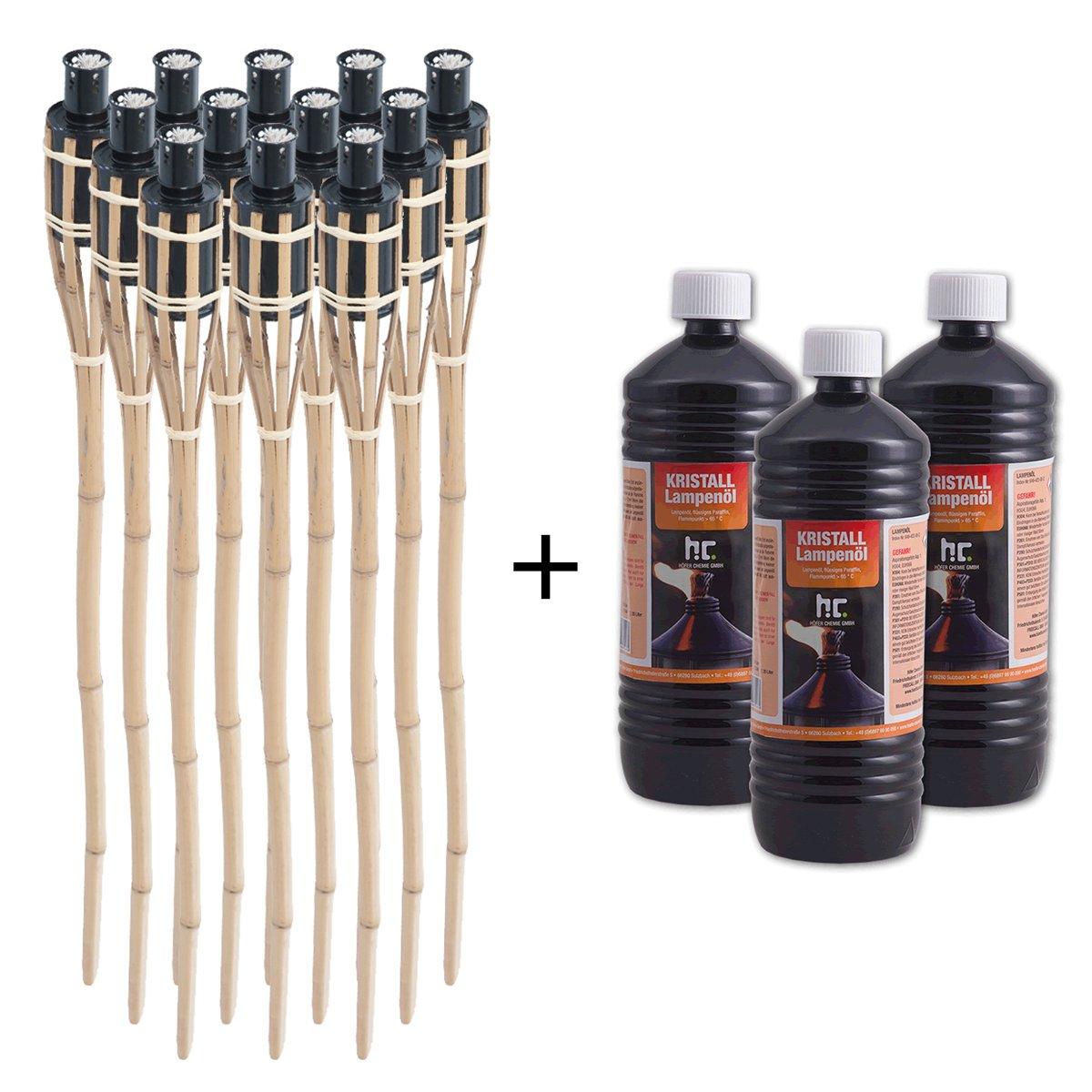 DXP Lot De 12 Bambou Torches 90cm Torche De Jardin En Bambou Party Avec 3 X 1 L Huile
