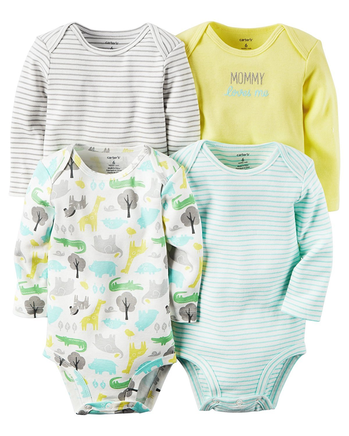 Carter's Unisex-Baby 4-Pack Long Sleeve Bodysuits Carters