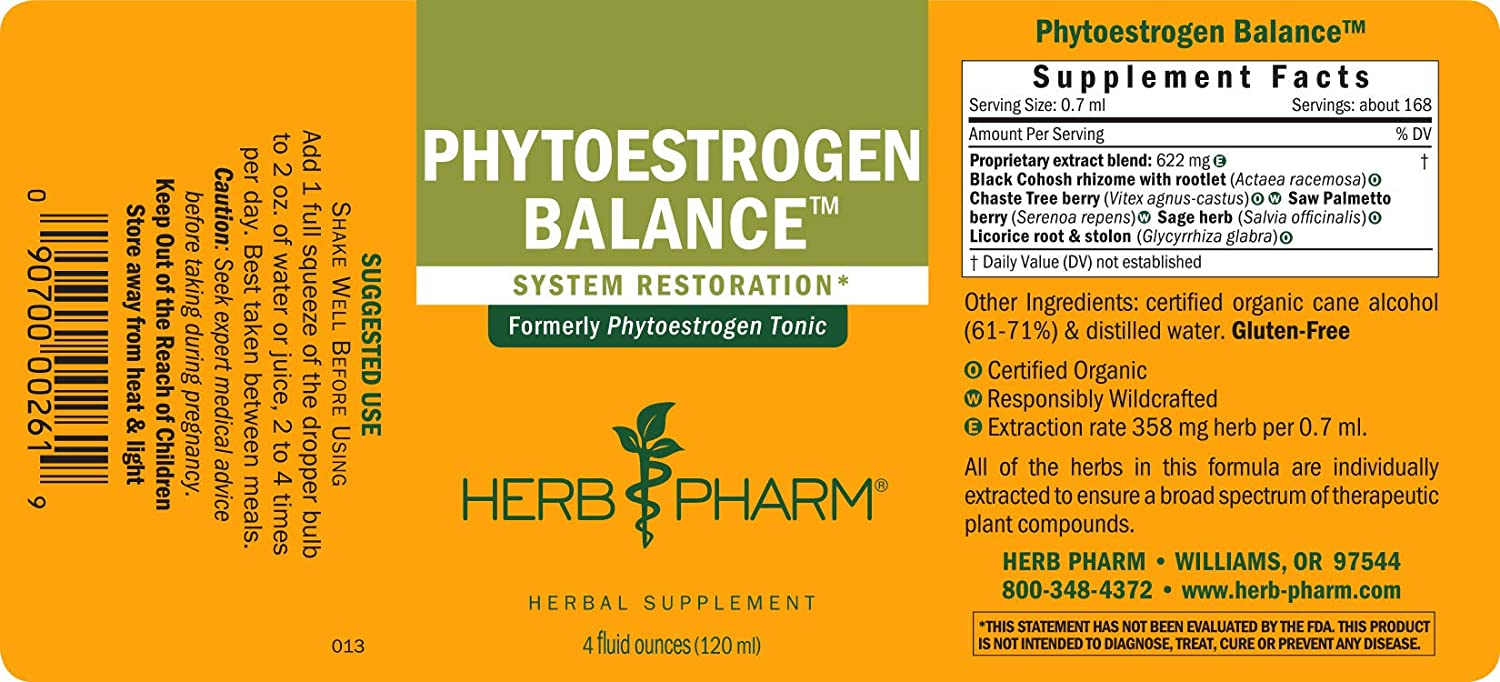 Herb Pharm Phytoestrogen Balance Liquid Herbal Formula for Female Reproductive System Support – 4 Ounce