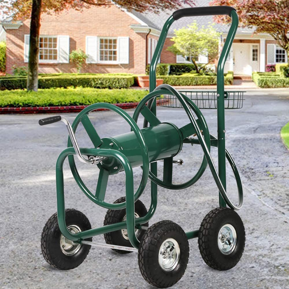 Garden Hose Reel Cart with Wheels, Holds 300-Feet of 5/8-Inch Hose, Heavy Duty Yard Water Planting 4 Wheels Outdoor Garden Lawn Water Truck with Storage Basket, Green