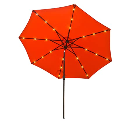 Aok Garden 9 Ft LED Lighted Patio Outdoor Umbrella Solar Power Market Table Fade-Resistant Umbrella with Push Button Tilt Crank and 8 Sturdy Ribs,Orange