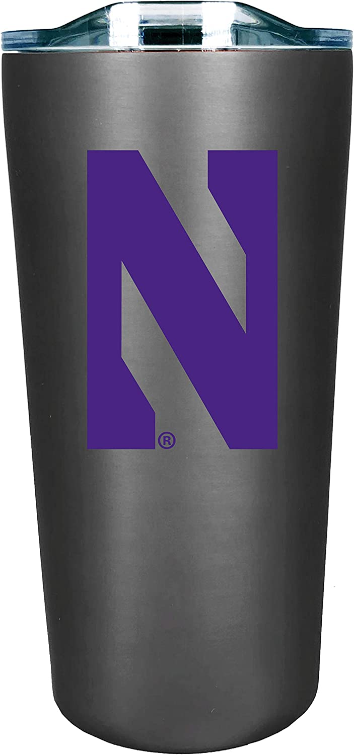 Design-1 The Fanatic Group Personalized Northwestern Double Walled Soft Touch Tumbler Silver