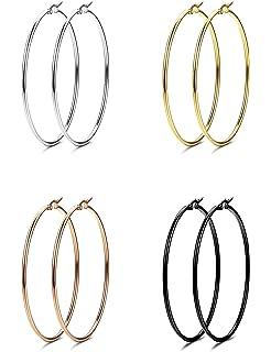 Anson&Hailey 4 Pairs Stainless Steel Hoop Earrings for Women Gift