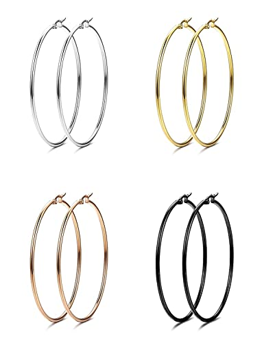 Anson Hailey 4 Pairs Stainless Steel Hoop Earrings For Women Gift