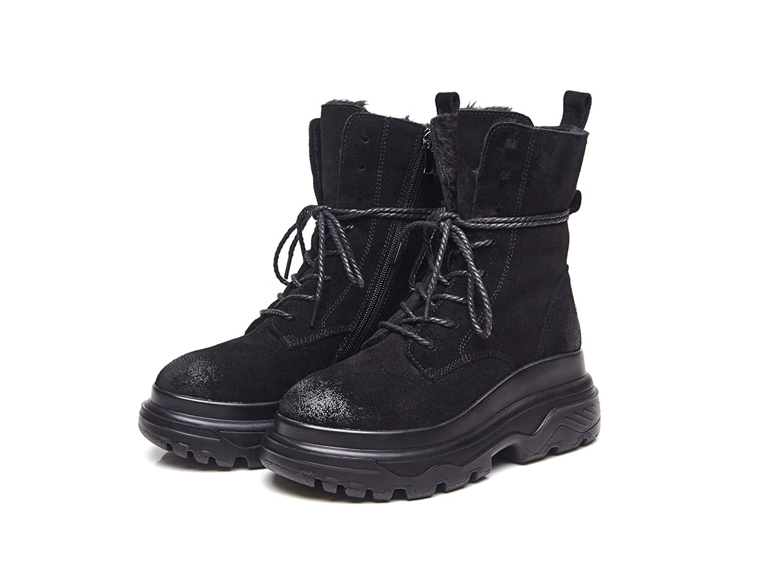 HOESCZS Mujer Zapatos In The and Invierno To Help Help Help Keep Warm Inside The High-End Platform Zapatos Mujer Zapatos Thick-Soled Botas Frosted Martin, Negro, 35 b6c727