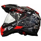 MX Enduro Quad Helm Road Pirate matt schwarz rot mit Visier und Sonnenblende M