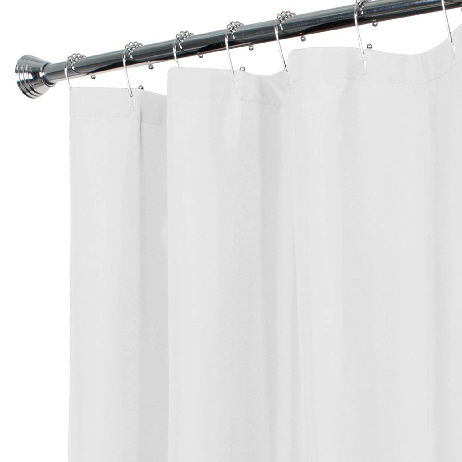 MAYTEX Water Repellent Fabric Shower Curtain or Liner, Machine Washable, 70 x 72, Black 72639