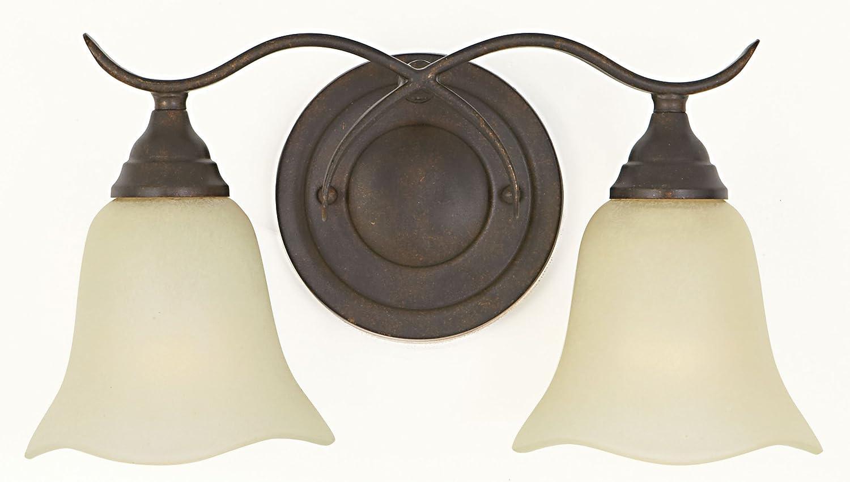Feiss VS10602-GBZ Morningside Glass Wall Vanity Bath Lighting, Bronze, 2-Light 15 W x 8 H 200watts