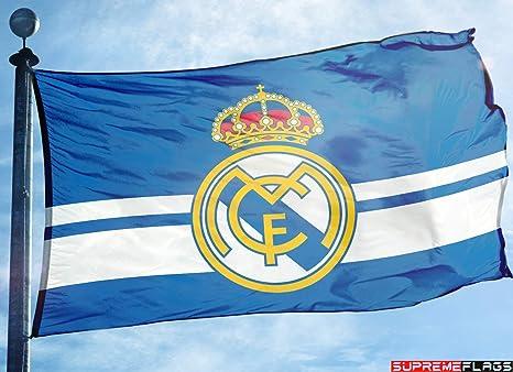 Bandera del Real Madrid 3 x 5 pies Azul España Futbol Bandera de fútbol Azul: Amazon.es: Deportes y aire libre