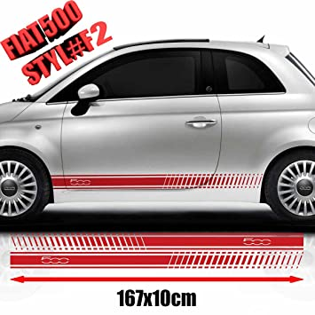 Fiat 500 racing side stickers graphics decals car stickers red
