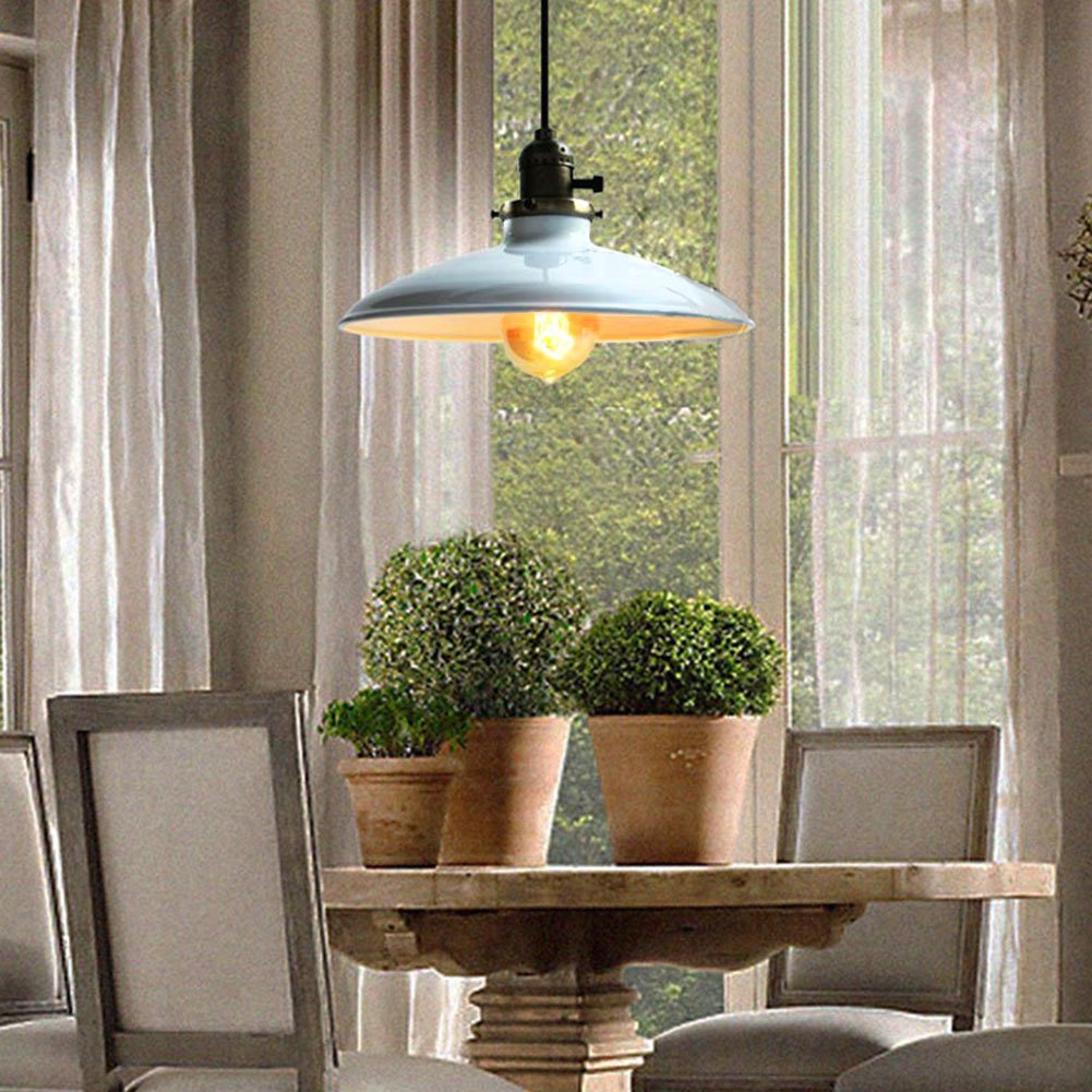 antique industrial pendant lights white. Fuloon Lighting Industrial Antique Metal Shade Pendant Light 1 UFO Ceiling (White): Amazon.co.uk: Kitchen \u0026 Home Lights White