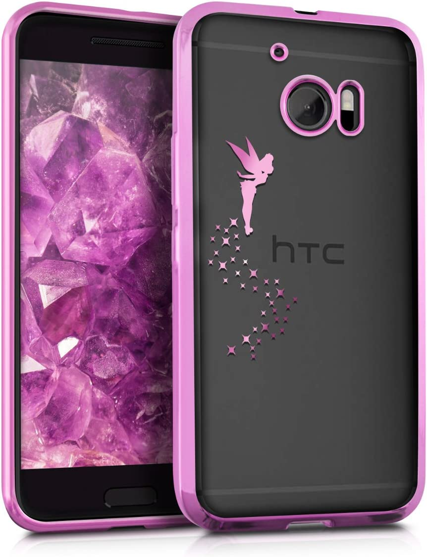 kwmobile Crystal TPU Case for HTC 10 - Soft Flexible Transparent Silicone Protective Cover - Dark Pink/Transparent