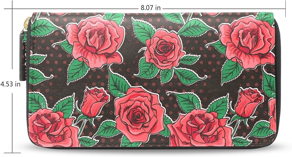 Womens Beautiful Vintage Roses Pattern Long Wallet /& Purse Case Card Holder