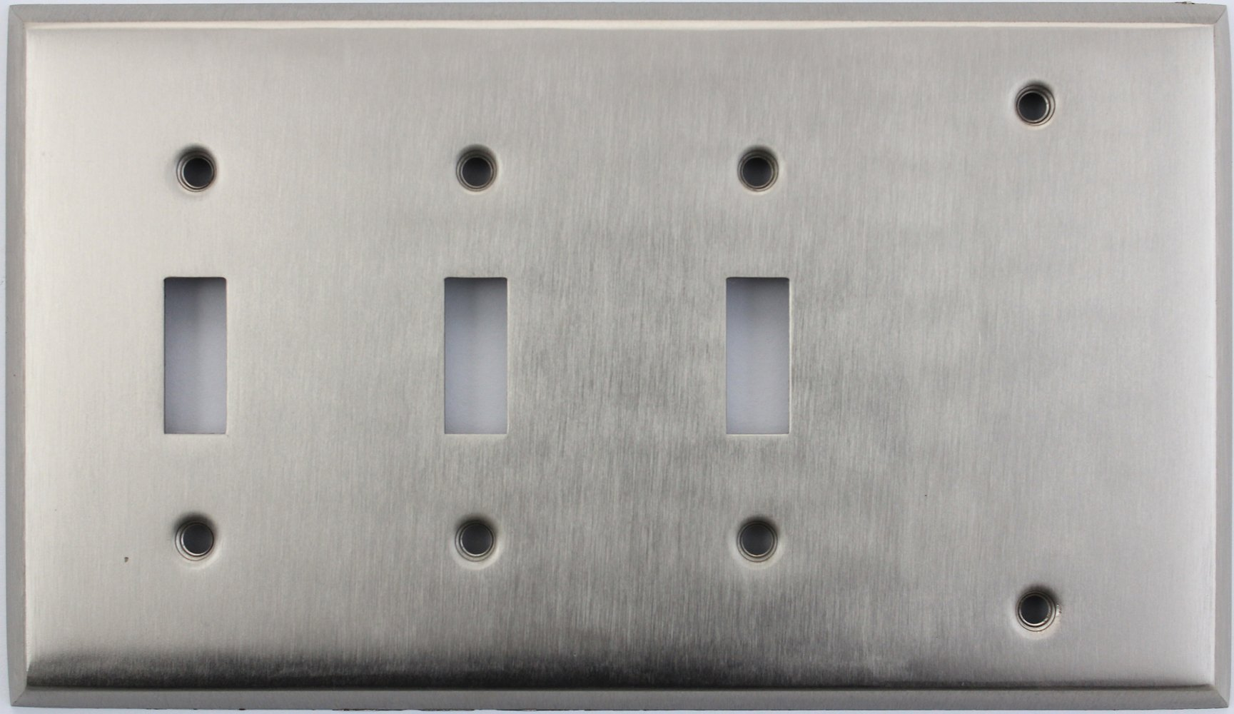 Classic Accents Stamped Steel Satin Nickel Four Gang Wall Plate - Three Toggle Switch Openings One Blank
