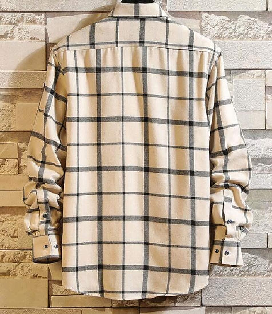 C.Zhaxidele Mens Plaid Button Down Shirt Long Sleeve Casual Blouse Tops