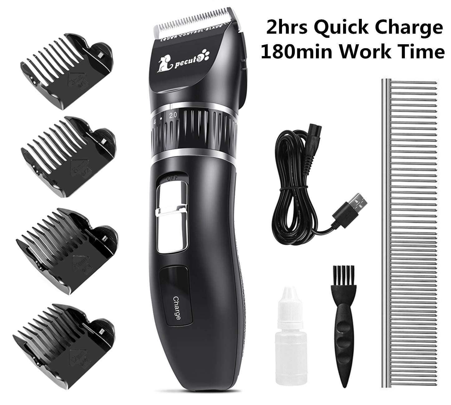 Pecute Dog Clippers, 2hrs Quick Charge, 180min Work Time, Stainless Steel Ceramic Blade, Detachable Battery Professional Pet Clipper for Dogs Cats Pets Grooming Price: $29.99