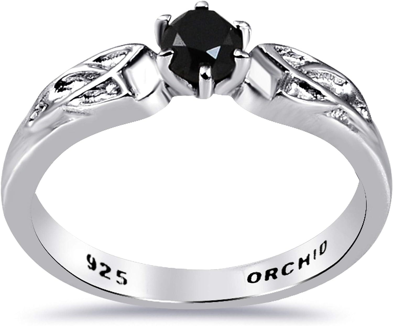 Orchid Jewelry Mujer Anillo Negro Diamante Plata De Ley 925