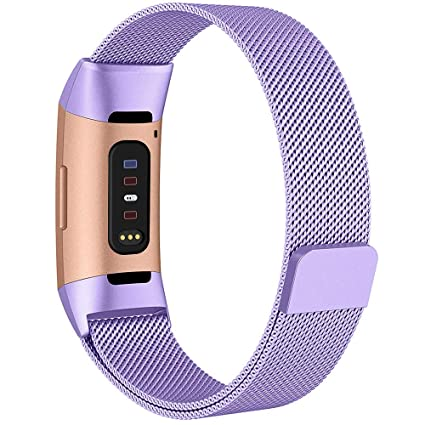 QIBOX Compatible with Charge 3 Bands,Women Men Woven Stainless Steel Metal  Replacement Strap Bracelet Magnetic Closure Clasp Compatible with Charge 3