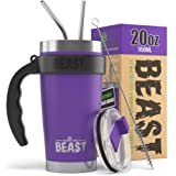 BEAST 20 oz Purple Tumbler Set with Handle - Stainless Steel Coffee Cup + 2 Straws Brush, Gift Box & Black Handle