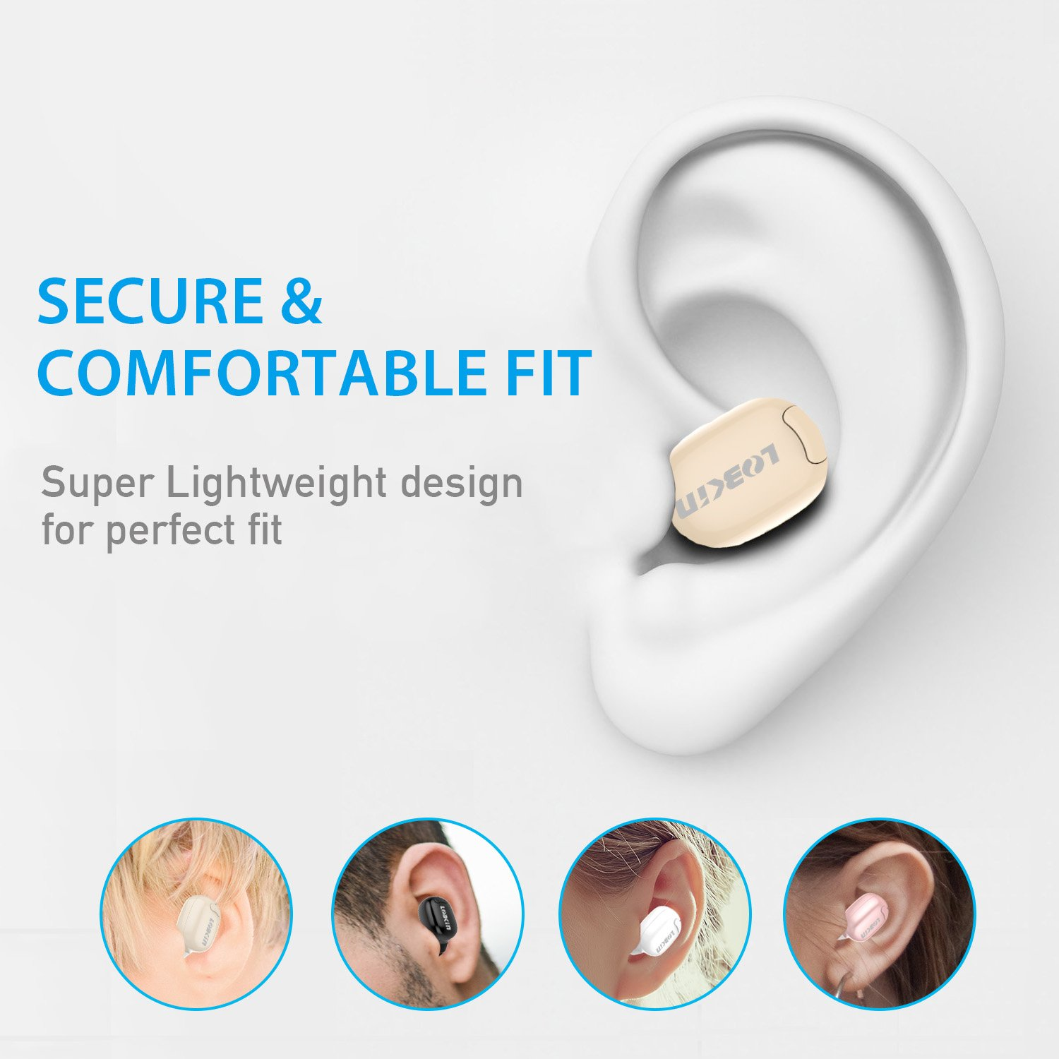 LOBKIN Bluetooth Headphone,Wireless Headset Invisible Earbud Ultra In Ear Earphone Earpiece Handsfree with Mic,Paired with Two Smartphones for iPhone,Samsung,HTC,LG and Other Bluetooth Devices (Beige)