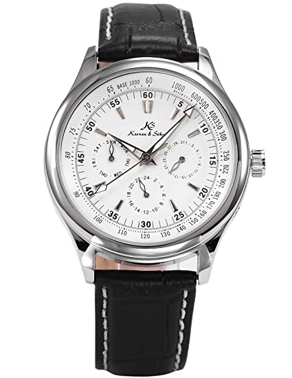 KS Reloj para Hombre Plateado Mecánico Automático con Correa de Cuero Negro KS096: Amazon.es: Relojes