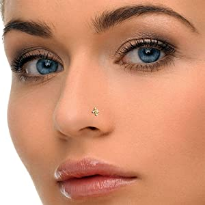 Buy 14k Gold And Diamond Nose Pin Stud For Women Animas Jewels