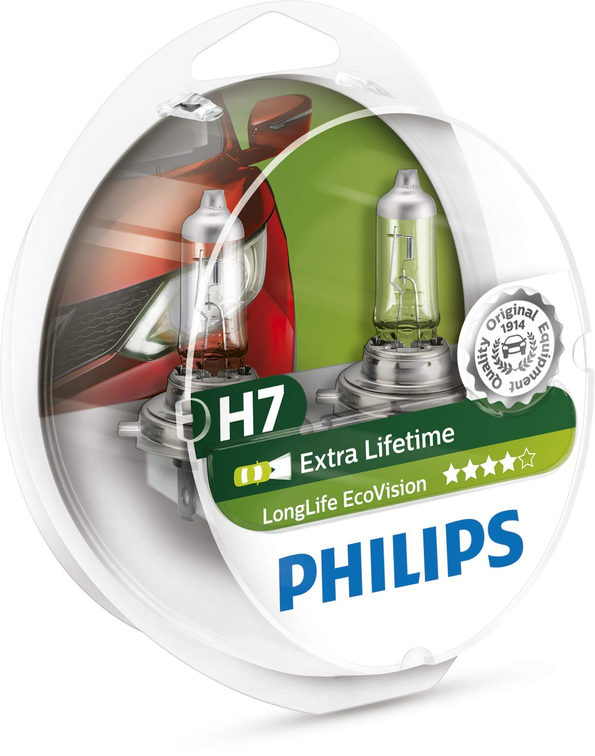 Philips 12972LLECOS2 LongLife EcoVision - Bombillas para faros delanteros (H7, 2 unidades) product