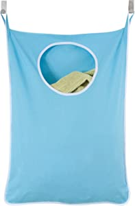 Urban Mom Door Hanging Laundry Hamper with Stainless Steel Hooks (Blue)