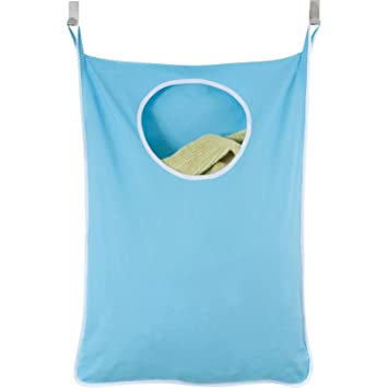 Laundry Nook Door Hanging Laundry Hamper With Stainless Steel Hooks (Blue)