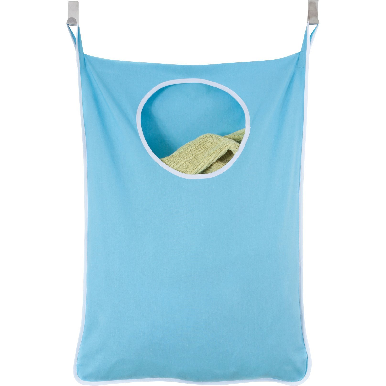 Laundry Nook Door-Hanging Laundry Hamper with Stainless Steel Hooks (Blue)