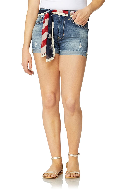 Denver WallFlower Women's Juniors Belted High Waisted Denim Shorts