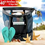 Codream Mesh Beach Bag with Cooler Insulated Picnic Waterproof Zipper Tote Bags for Beach Travel