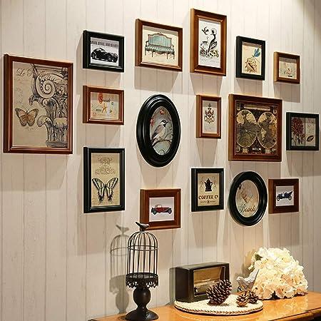 Conjuntos de Pared de Collage de Fotos de Cuadros múltiples de Madera para 16 Fotos en Familia Sala de Estar Escalera DIY Pintura Decorativa combinada (Negro marrón): Amazon.es: Hogar