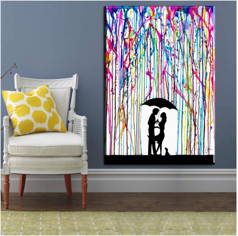 Resumen bajo color lluvia hombre mujer amor carteles impresiones pared pintura arte lienzo pintura cielo abstracto lienzo cuadro-50x70 cm sin marco