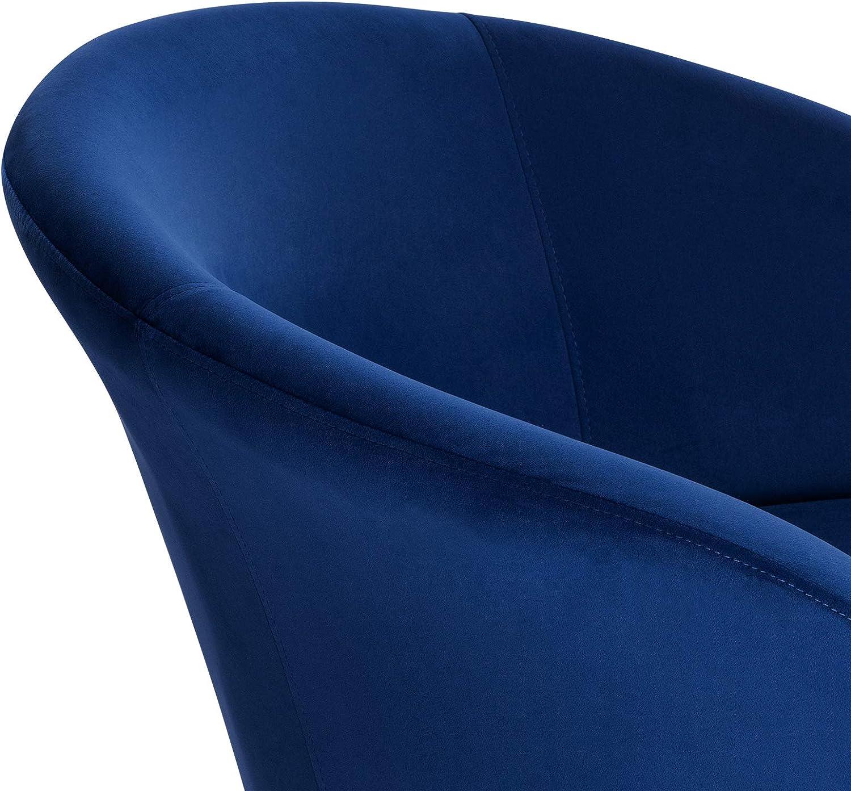 EUGAD Set de 2 Sillas Comedor Vintage Dise/ño Sillas Tapizada N/órdicas Moderna en Terciopelo Patas de Metal Silla de Cocina Silla Tulip Silla de Sal/ón Azul