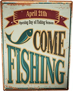 LEotiE SINCE 2004 Tin Sign Metal Plate Decorative Sign Home Decor Plaques 30 x 40 cm Metal Plate Plaque Pisces Angel Fish Fishing Season Fisherman's House Vintage