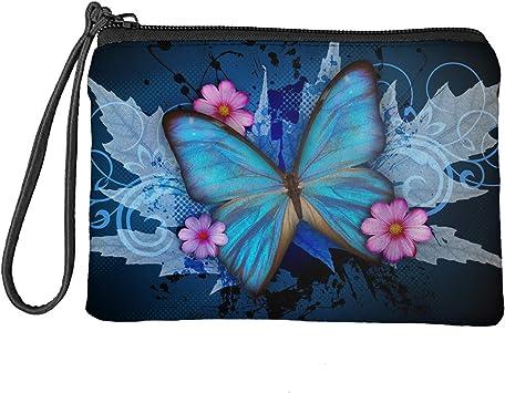 Babrukda Women Change Purse Coin Purse Vintage Blue Butterfly Maple Leaf Flower Wallet Bag with Wristlet Strap Zipper Change Pouch Small Toiletry Case 7