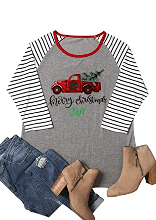 31c86a70fe3 HRIUYI Plus Size Merry Christmas Y'all Shirts Funny Women 3/4 Sleeve  Holiday Tops Tee