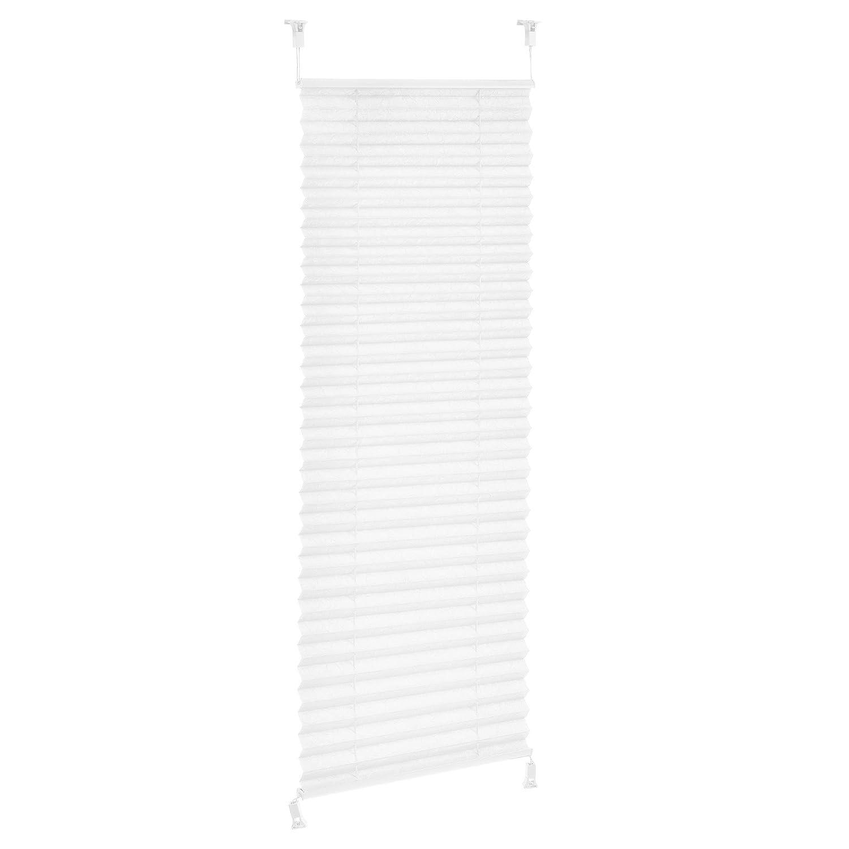 [neu.haus] Tenda avvolgibile plissettata con morsetto di fissaggio (35 x 125 cm) (bianco) - Protezione da sole e luce - opaca (senza bisogno di fori) [neu.haus]®