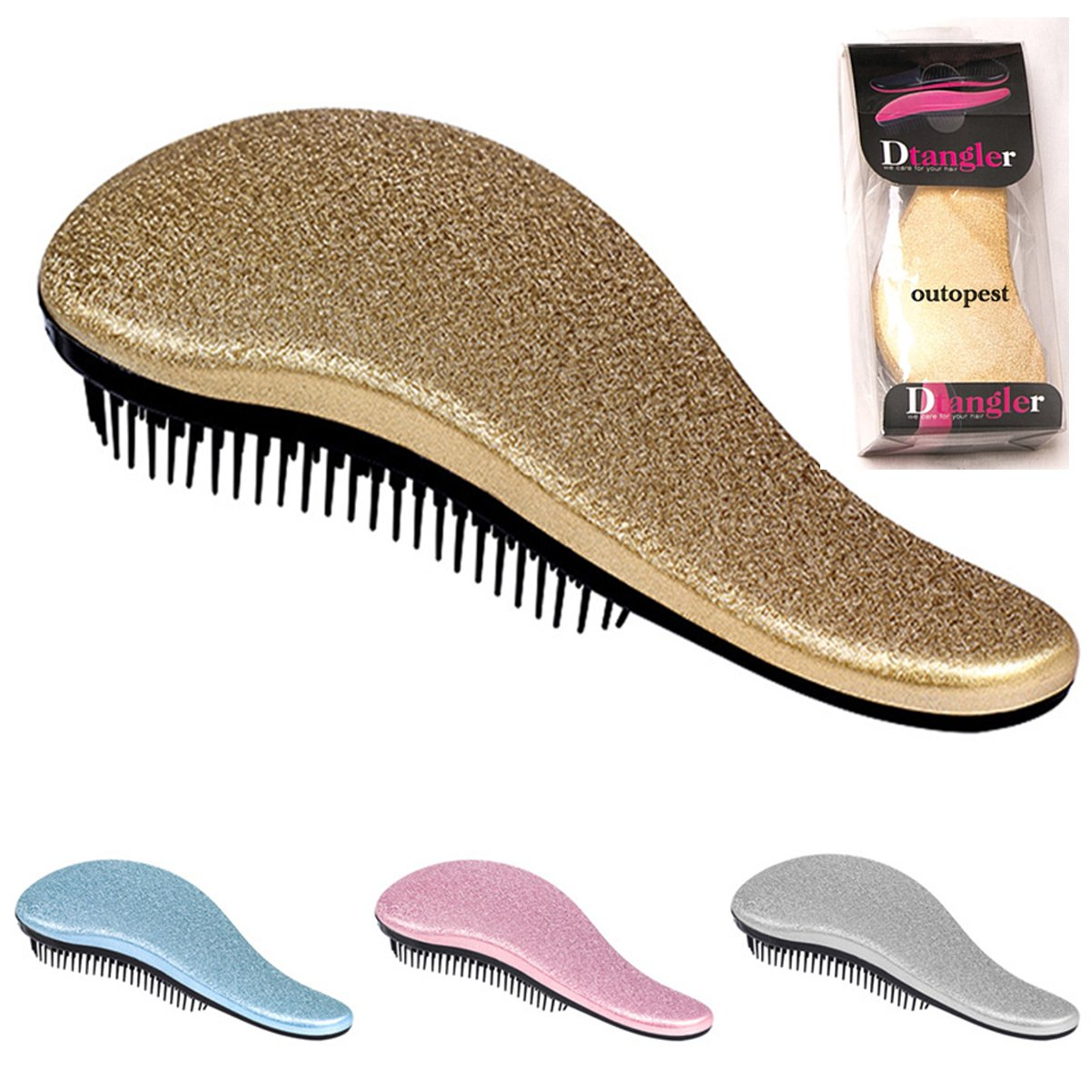 Detangling Hairbrush Comb- Glide Through All Types of Natural & Tangled Hair - Dry & Wet Hair Brush- Gold Sparkle Hair Detangler Brush - For Kids, Women, Men (Gold) by Outopest (Image #1)