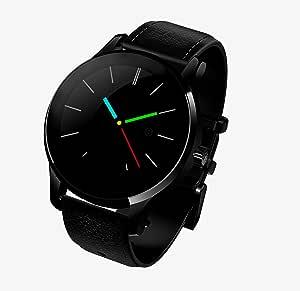 ساعة ذكية بسوار جلد اندرويد متوافقة مع اندرويد و اي او اس، اسود - VS33/K88H