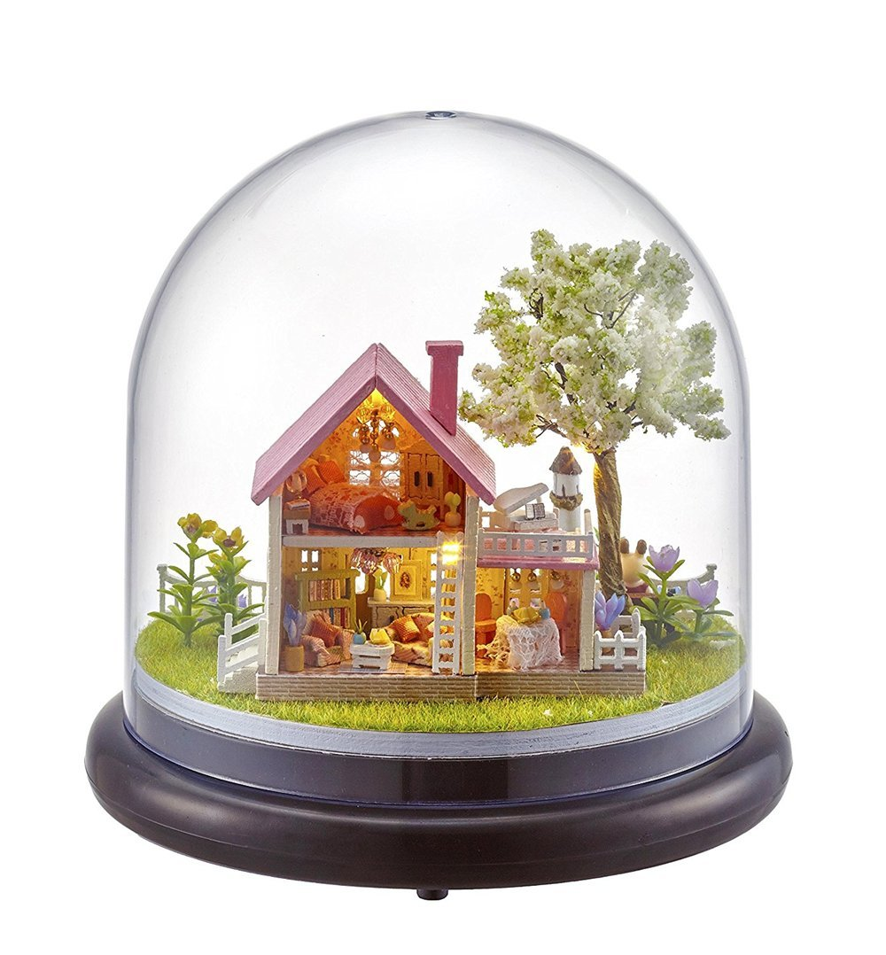 Hot Diy Glassball Birthday/valentine/christmas Gifts Miniature Furnitures Model Kits 3d Assemble Toys Creative Diary Dollhouse Model Building Toys & Hobbies
