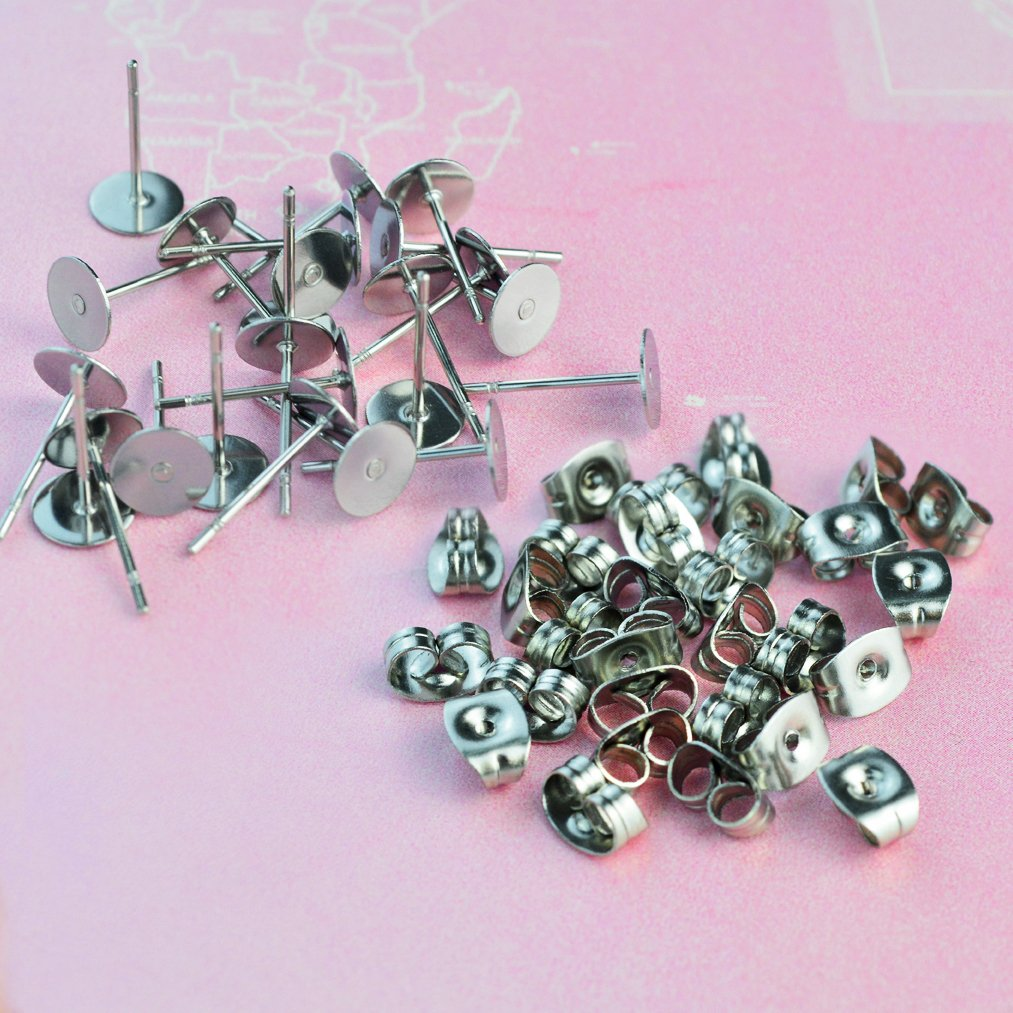 with 100 Pairs Earring Backs for Earring Making Findings Total 200 Pieces 2 Size baotongle Stainless Steel Earrings Posts Flat Pad