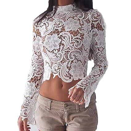 2212e149103 Amazon.com: Women's Long Sleeve Sexy Sheer T-Shirt Blouse Mesh Lace ...