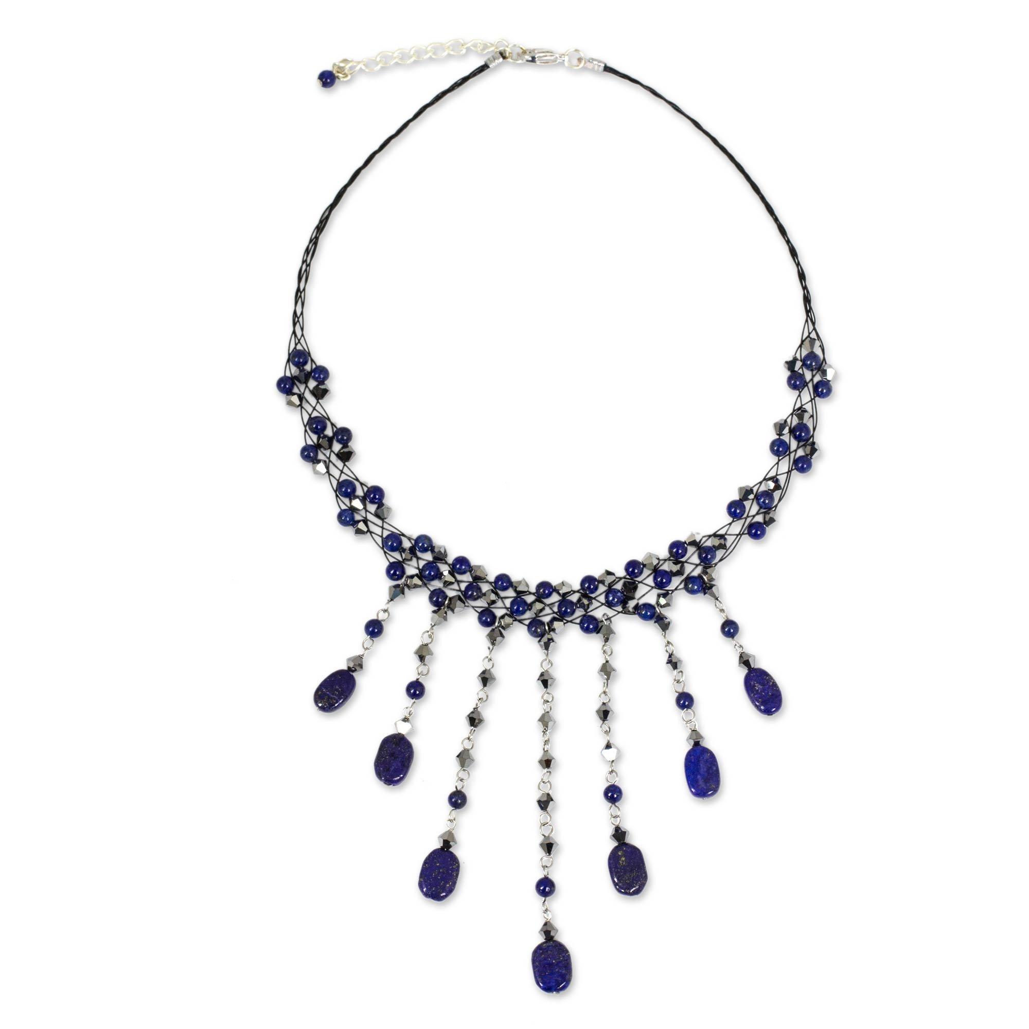 NOVICA Lapis Lazuli Stainless Steel Beaded Choker Necklace, 14.5'' 'Rain Shower'