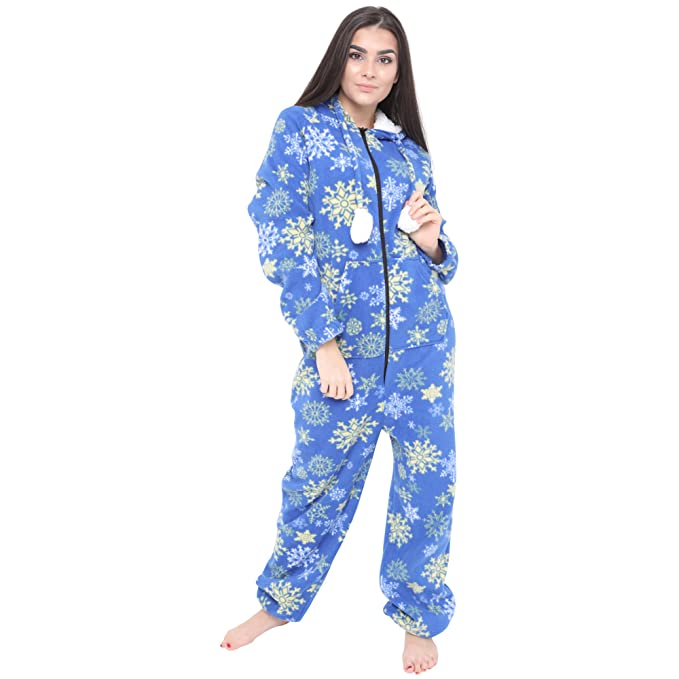 2255c5e5f90af Ladies Fleece All in One Piece Pyjamas Jump Sleep Suit Onesie PJs Nightwear  (Medium,