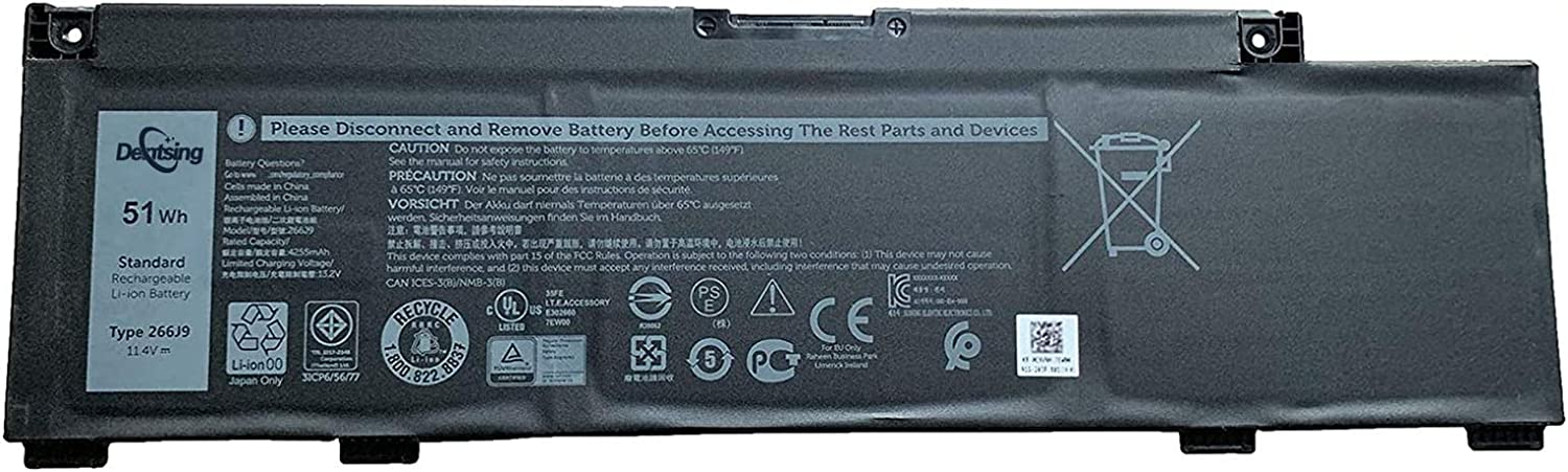 Dentsing 11.4V 51Wh/4255mAh 3Cells 266J9 Laptop Battery Compatible with Dell G3 15 3500 3590 3790 G5 5500 SE 5505 Inspiron 5490 Series Notebook 0M4GWP 0PN1VN