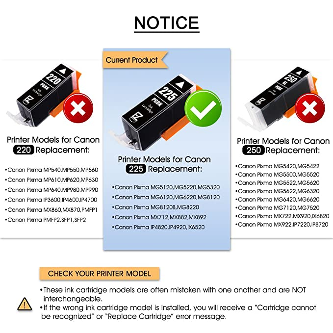amazon com e z ink (tm) compatible ink cartridge replacement for  amazon com e z ink (tm) compatible ink cartridge replacement for canon pgi 225 cli 226 pgi225 cli226 to use with pixma mx882 mx892 mg5320 mg6220 (4 large