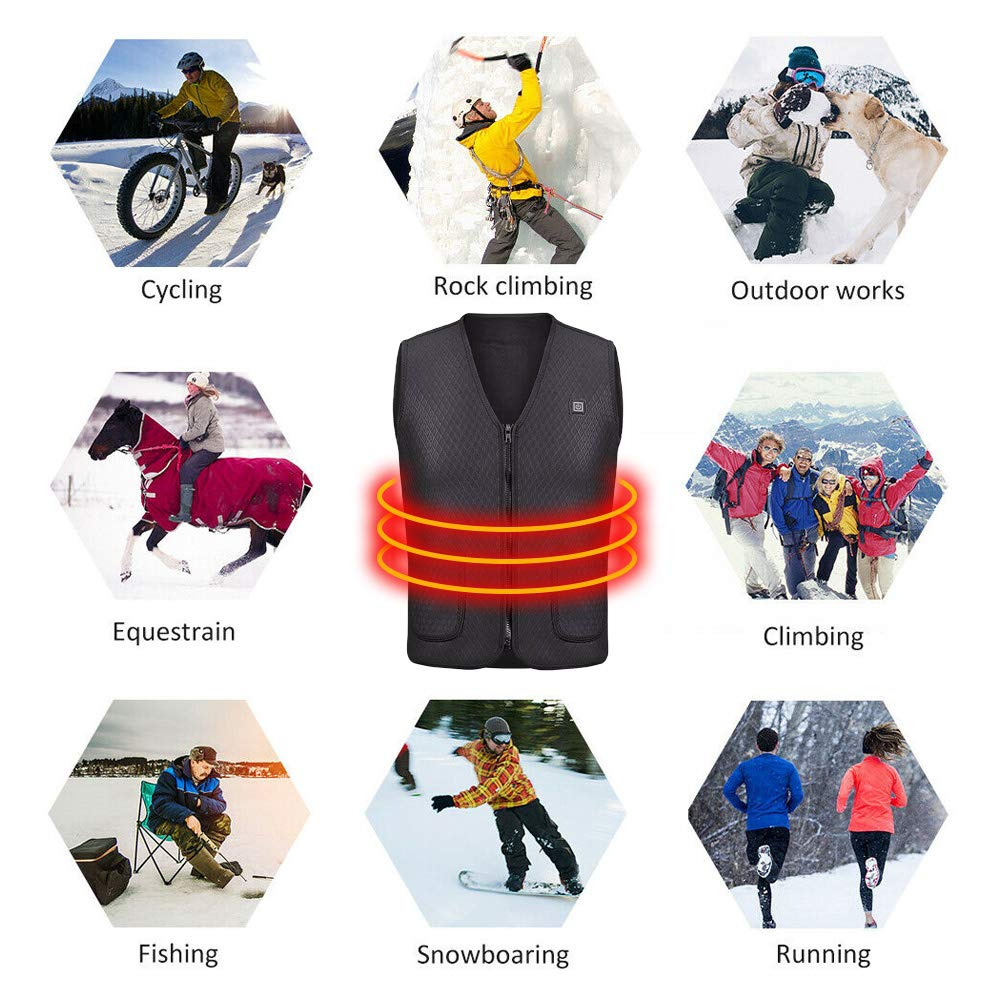 TOPAUP Washable USB Powered Heated Gilet Waterproof Lightweight Body Warmer for Outdoor Camping Hiking Hunting Electric Heated Vest M-XXXL