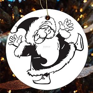 yyone Personalized Xmas Ceramic Round Ornaments Woodland Mushroom Christmas, Round Ceramic Hanging Ornaments for Christmas Tree,Seasonal Home Decor